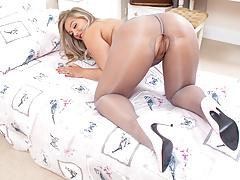 Big tits blonde masturbates in naughty open crotch pantyhose